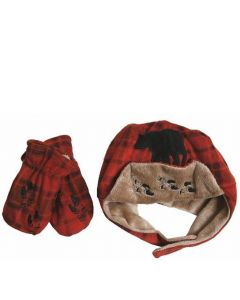 Carstens Red Plaid Bear Hat & Mittens Set