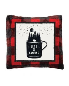 Carstens Let's Go Camping Red Plaid Pillow
