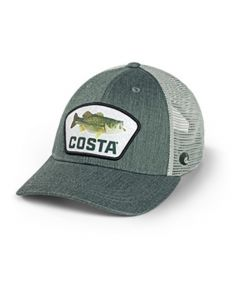 Costa Fitted Trucker Bass Patch Hat XL Green Heather