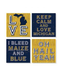 Carson Michigan Maize and Blue Coaster Set of 4