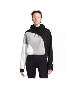 North Face Women's Luminous Flux Pull Over Hoodie Black Lt Grey Heather White