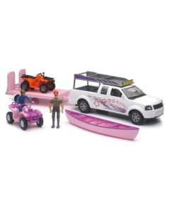 New-Ray Toys Xtreme Adventure 1:18 Pink Pickup & ATV Trailer with Figures Set