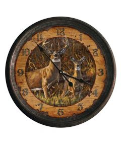 River's Edge Buck & Doe Vintage Wall Clock
