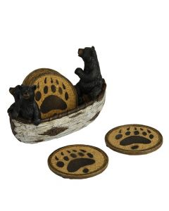 River's Edge Bears in Boat Coaster Set