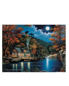 River's Edge Cabin by the Lake Wall Art