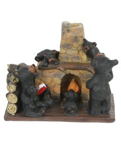 Bear Family by Fireplace