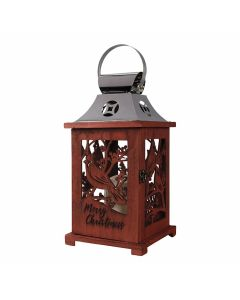 Carson LED Candle Lantern Merry Christmas with Cardinal