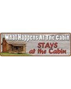 Rivers Edge Tin Sign-What Happens At Cabin