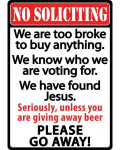 Rivers Edge No Soliciting Tin Sign