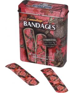 Rivers Edge 32-Pack Pink Camo Bandages in Tin