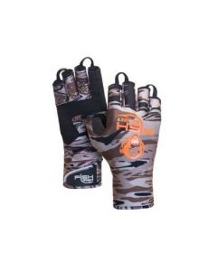 Fish Monkey Backcountry II Half Finger Gloves Brown Camo