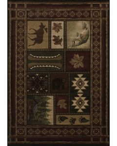 """United Weavers of America - 5'3"""" x 7'6"""" Rectangular Contours Cabin Chalet Toffee"""