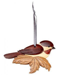 The Handcrafted Double Side Wood Intarsia Ornament - Chickadee