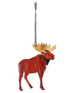 The Handcrafted Double Side Wood Intarsia Ornament - Standing Moose