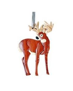 The Handcrafted Double Side Wood Intarsia Ornament - Standing Deer