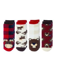 Flapjackkids Kids 4-Pak Cabin Socks Red Moose & Beaver