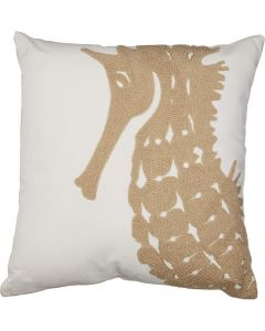 Carstens Tan Seahorse Chain Stitch Pillow