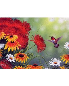 SunsOut Hummingbird and Red Flower Puzzle