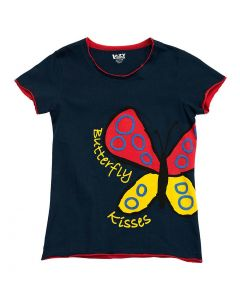 Lazy One Womens Butterfly Kisses PJ Tee, Dark Blue/Red/Yellow