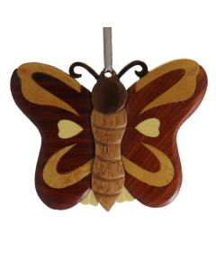 The Handcrafted Double Side Wood Intarsia Ornament - Butterfly II