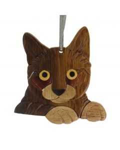 The Handcrafted Double Side Wood Intarsia Ornament - Cat