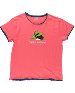 Lazy One Women's Regular Fit Tee Turtley Awesome Pink