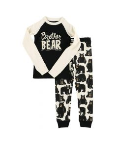 Lazy One Kid Brother Bear PJ Set, Black/White