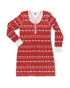 Lazy One Women's Nordic Moose Nightshirt, Red Nordic
