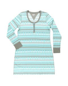 Lazy One Women's Nordic Snowman Nightshirt, Blue Nordic