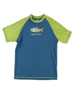Lazy One Adult Asleep At The Reel Pajama Tee, Blue Green