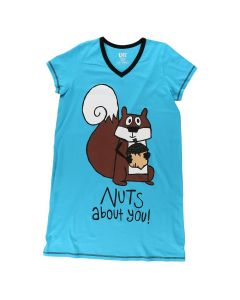 Lazy One Womens Nuts About You Nightshirt, Blue