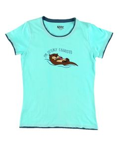 Lazy One Women's Fitted Tee Otterly Exhausted, Turquoise