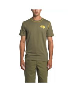 North Face Men's SS Dome Climb Tee Burnt Olive Green/Bamboo Yellow