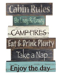 Young's Wood Cabin Rule Wall Sign