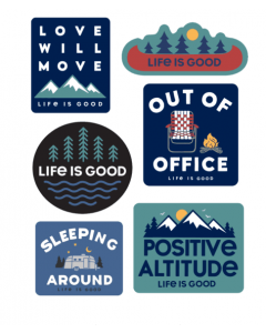 Life Is Good Six-Pack Camp Pack Stickers