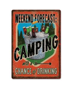 Rivers Edge Weekend Forecast Camping Tin Sign