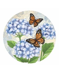 Carson Home Accents Hydrangea Btrfly Car Coaster