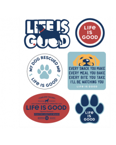 Life Is Good Six-Pack Dog Pack Stickers