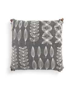 Demdaco Embroidered Gray Leaf Pillow