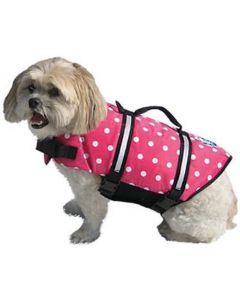Paws Aboard Doggy Life Jacket Pink Polka Dot