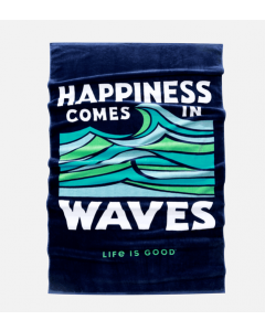 Life Is Good Happiness Waves Beach Towel