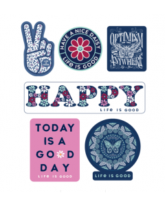 Life Is Good Six-Pack Happy Pack Stickers