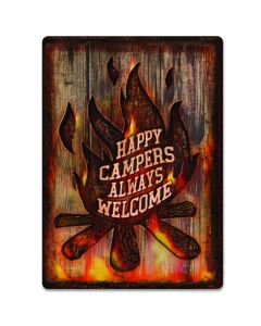 Rivers Edge Happy Campers Always Welcome Tin Sign