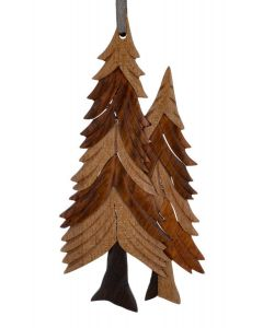The Handcrafted Double Side Wood Intarsia Ornament - Pine Trees