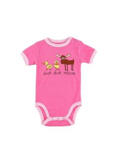 Lazy One Duck Duck Moose Pink Infant Creeper Onesie