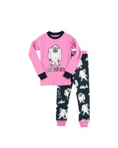 Lazy One Yeti For Bed Kid's Long Sleeve Pink PJ's
