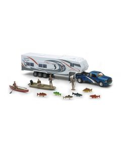 New-Ray Toys 1:32 Scale Wildlife Hunter Ford F-350 Fifth Wheel and Fishing Sports Set