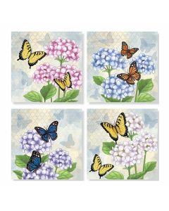 Carson Home Accents Hydrangea/Butterfly Coaster Set