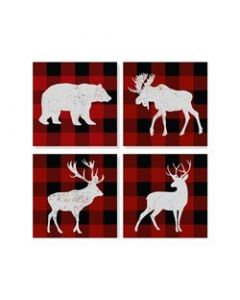 Carson Home Accents Plaid Animal Coaster Set