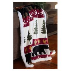 Carstens Tall Pine and Bear Super Soft Extra Plush Cozy Throw